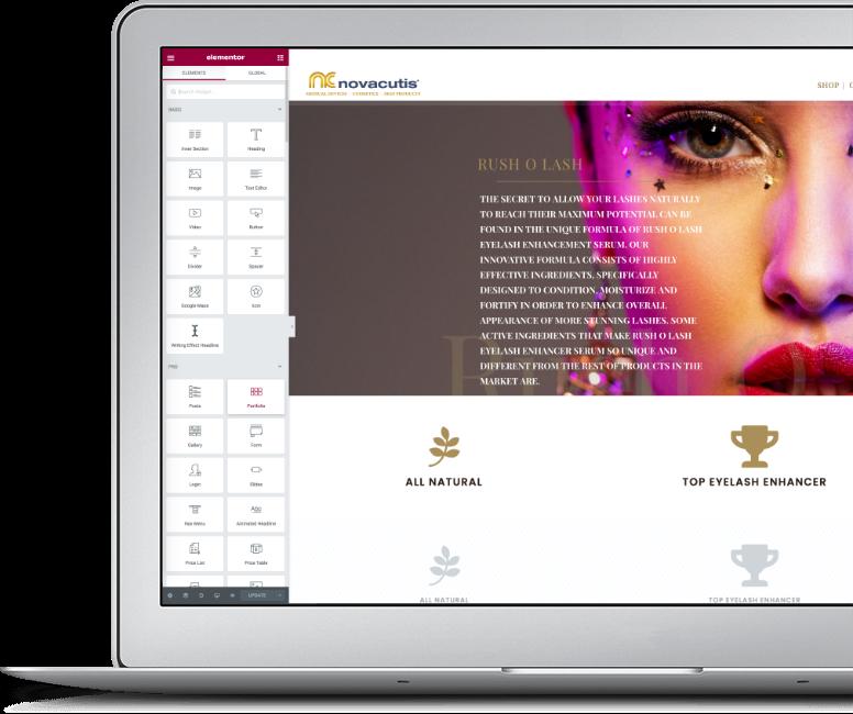 Webdesign und Onlinshops für Beauty Produkte. Webdesign Mainwebsite